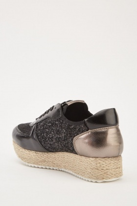 Contrast Mesh Glittered Wedged Trainers
