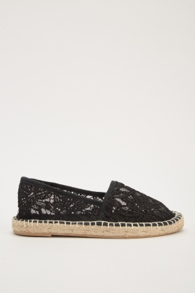 Embroidered Mesh Flat Espadrilles