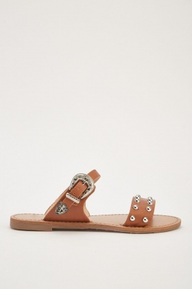 Studded Buckle Flat Slides