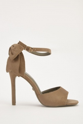 Suedette Bow Detail Heeled Sandals