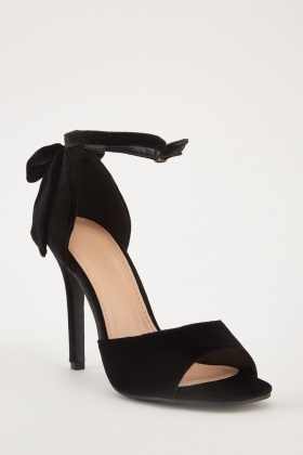 Velveteen Bow Detail High Heels