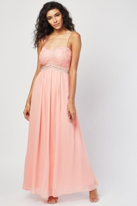 Beaded Trim Sheer Prom Maxi Dress