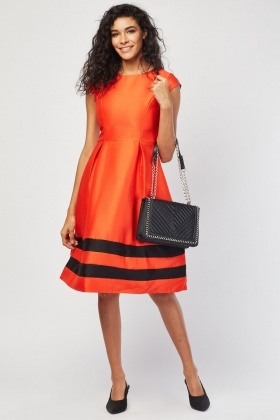 Box Pleat Hem Skater Dress