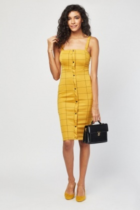 Checked Grid Midi Dress