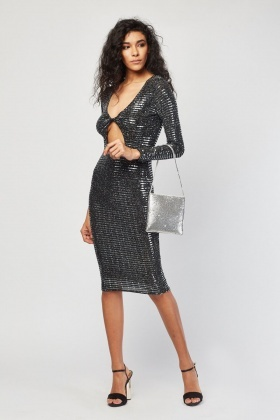 Cut Out Front Sequin Bodycon Dress