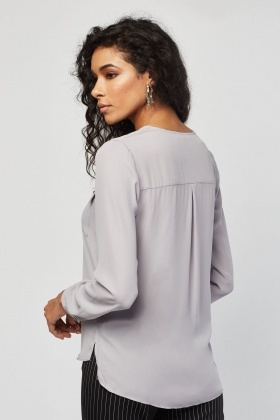 Flap Pocket Front Grey Sheer Blouse