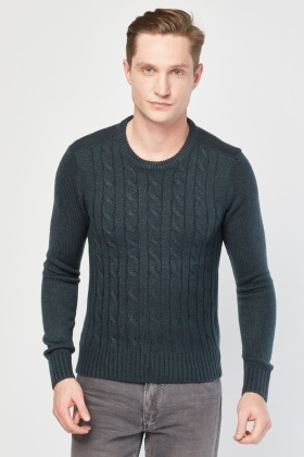 Spiral Cable Knit Casual Jumper