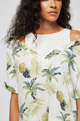 Vest Insert Tropical Print Top