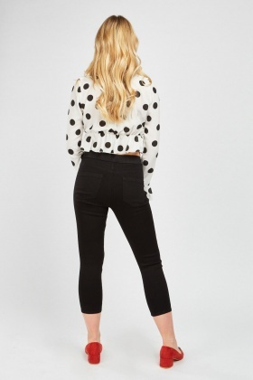 Black Skinny Fit Crop Jeggings