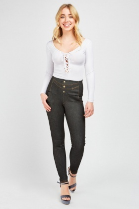 Button Front High Waist Leggings