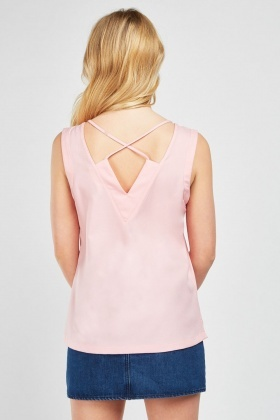 Criss Cross Back Chiffon Top