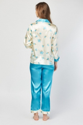Floral Printed Sateen Pyjama Set