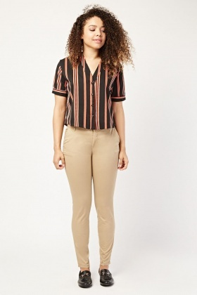 Basic Straight Fit Chino Trousers