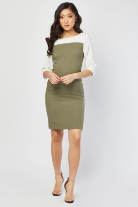 Contrast Long Sleeve Dress