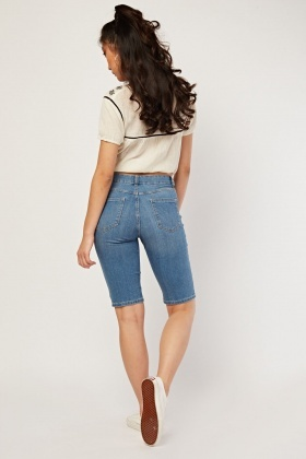 Denim Long Line Shorts