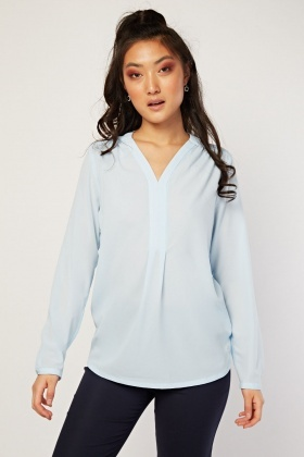 Plain Sky Blue Chiffon Blouse