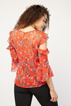 Printed Ruffle Cold Shoulder Blouse