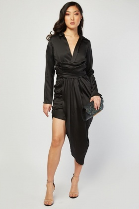 Silky Asymmetric Plunge Dress
