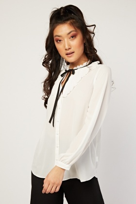 dd0c7ab6779f7 Tie Up Pleated Sheer Blouse