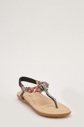 e6794cc299d Diamante Scarf Contrast Flip Flop Sandals