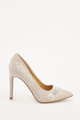 654a611dc19e Embroidered Suedette Court Heels