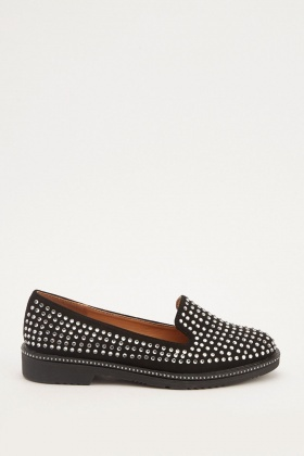Encrusted Diamante Loafers
