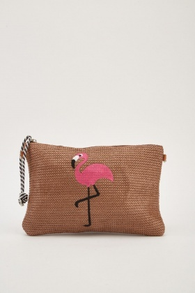 Flamingo Applique Twine Clutch Bag