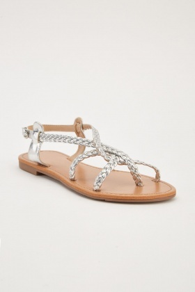 c4e879c001eb Plaited Metallic Flat Sandals