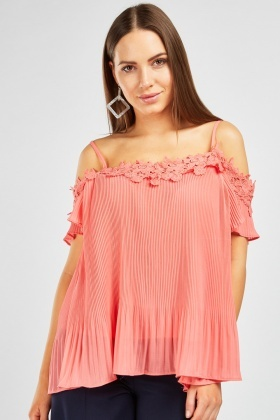 Crochet Trim Pleated Top