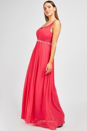 Diamante Trim Chiffon Maxi Dress