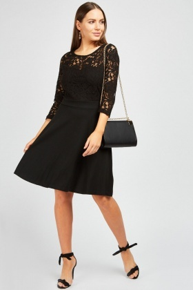 Lace Bodice Black Dress