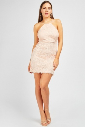Lace Insert Mini Halter Neck Dress