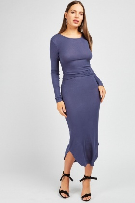 Tie Up Ribbed Maxi Dress