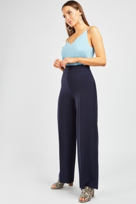 Wide Leg Navy High Waist Trousers