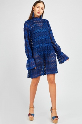 Zig Zag Lace Shift Dress