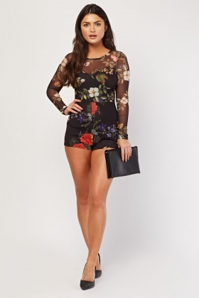 Floral Mesh Illusion Playsuit