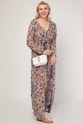 Floral Printed Sheer Maxi Dress