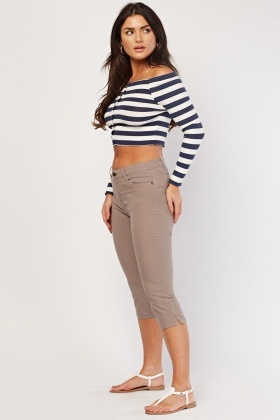 Low Waist Crop Chino Pants