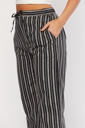 Metallic Stripe Straight Fit Trousers