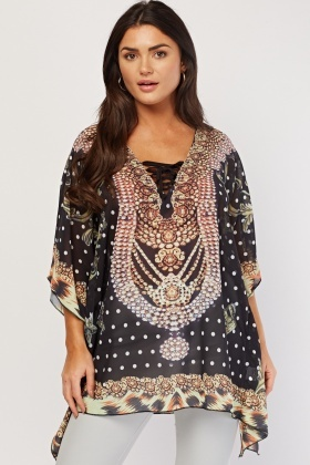 Ornate Print Sheer Kaftan Top