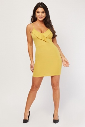 Ruffle Front Bodycon Dress