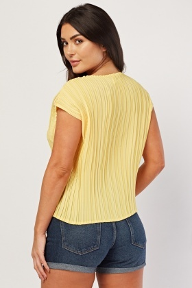 Short Sleeve Pleated Chiffon Top