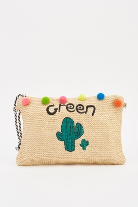 Cactus Embroidered Twine Clutch