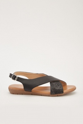 6f4eba15a Contrasted Cross Strap Sandals
