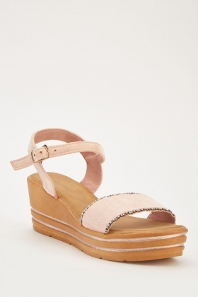 debecb8ec85b Encrusted Trim Wedged Sandals