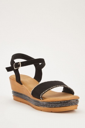 a1a68208c Glittered Panel Wedged Sandals