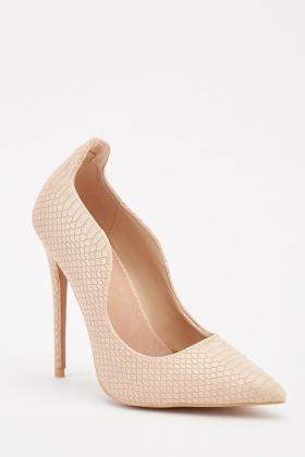 a8567c6b3 Scallop Cut Mock Croc Heels