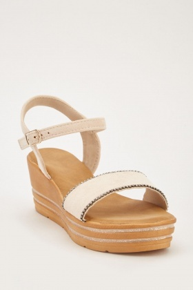 34002514d Wedged Suedette Contrast Sandals