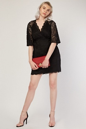 Flared Sleeve Lace Overlay Dress