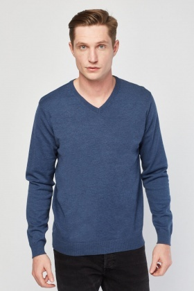V-Neck Fine Knit Casual Sweater